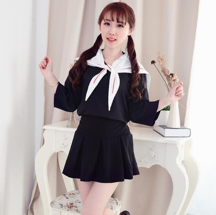 Japanese girls wear black and white The new Japanese students suit uniforms summer sailor suit JK Japanese long sleeved englon in Chinese Folk Dance from Novelty Special Use
