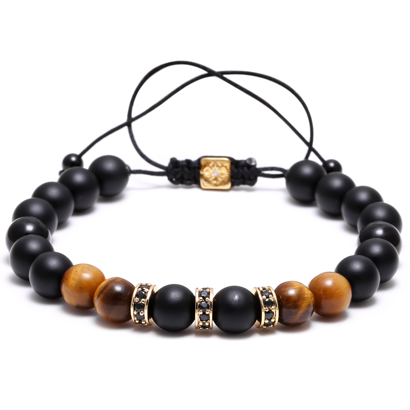 Mcllroy Tiger Eye Beads Bracelets Micro CZ Paved Bracelets Bangles bijoux pulseras Leather Braided Bead Women Men Jewelry a suit of vintage devil eye faux leather beads bracelets for men