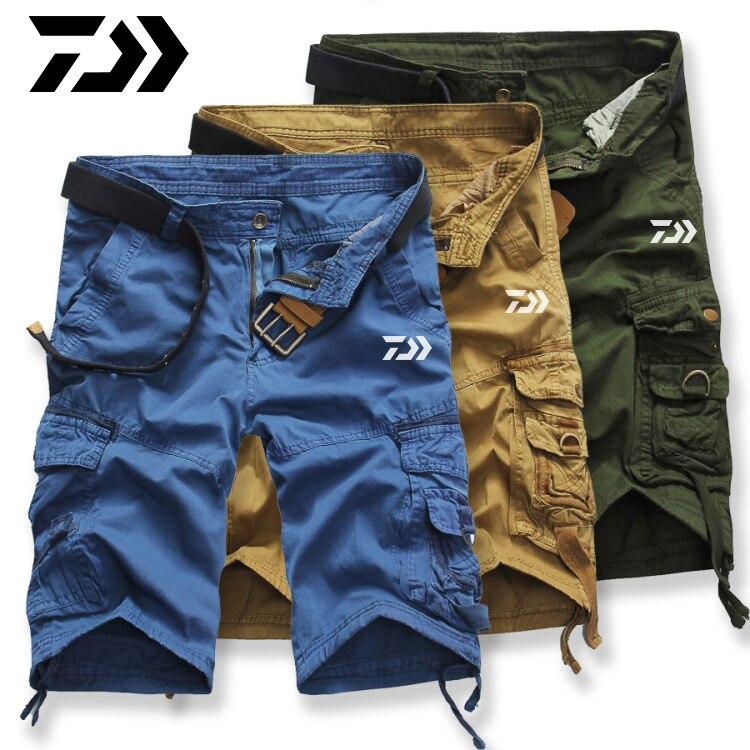 DAIWA DAWA Summer Men Camouflage Fishing Shorts Outdoor Sports Fishing Pants Breathable Quick Drying Reflective Fishing Shorts