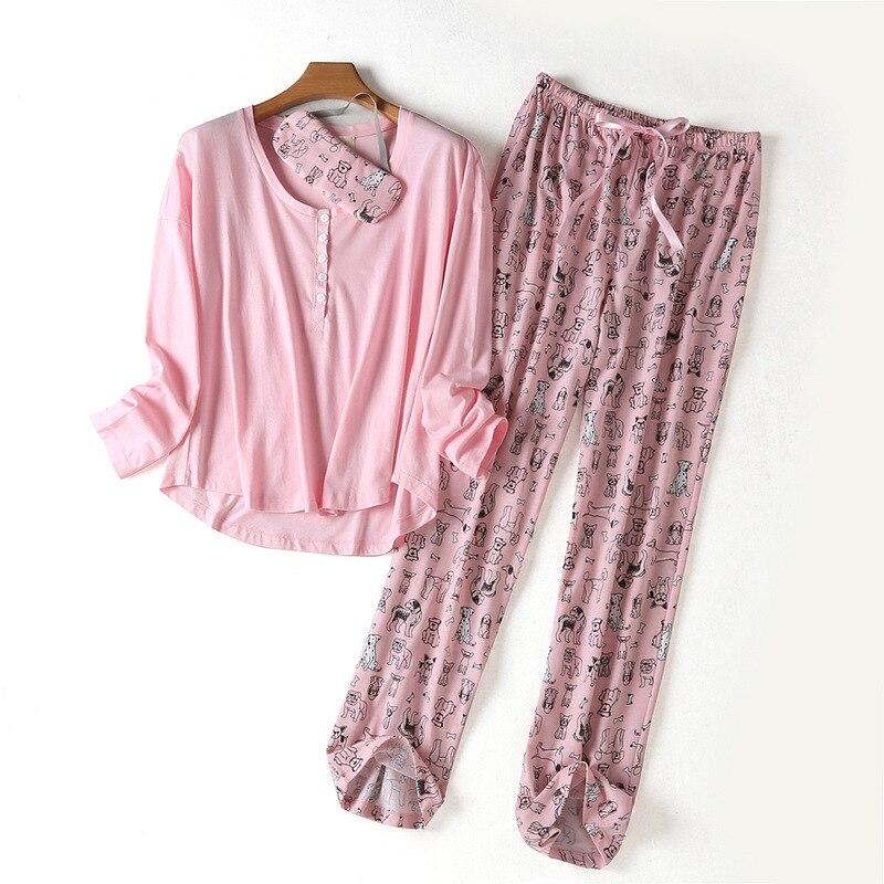 Spring New100% Cotton Sleepwear Long Sleeve Pijama Mujer Round Neck Plus Size Pajamas Cartoon Pijama Women's Three-piece Suit 34