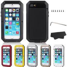 Роскошные Противоударный Водонепроницаемый Чехол Для iphone 4 4S 5 5c 5S SE 6 6 s 7 Плюс Броня Алюминиевый Металлической Крышкой Gorilla Glass жесткий