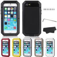 Luxury Shockproof Waterproof Case For iphone 4 4S 5 5c 5s SE 6 6s 7 Plus Armor Aluminum Metal Cover Gorilla Glass Hard