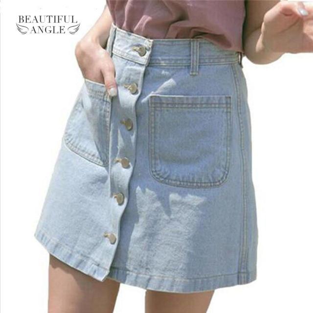 312fb5d9b1484 2017 Women Sexy Summer Skirts Fashion High Waist Skirt Plus Size Mini Jeans  Skirt With Pockets High Quality Casual Skater Skirt