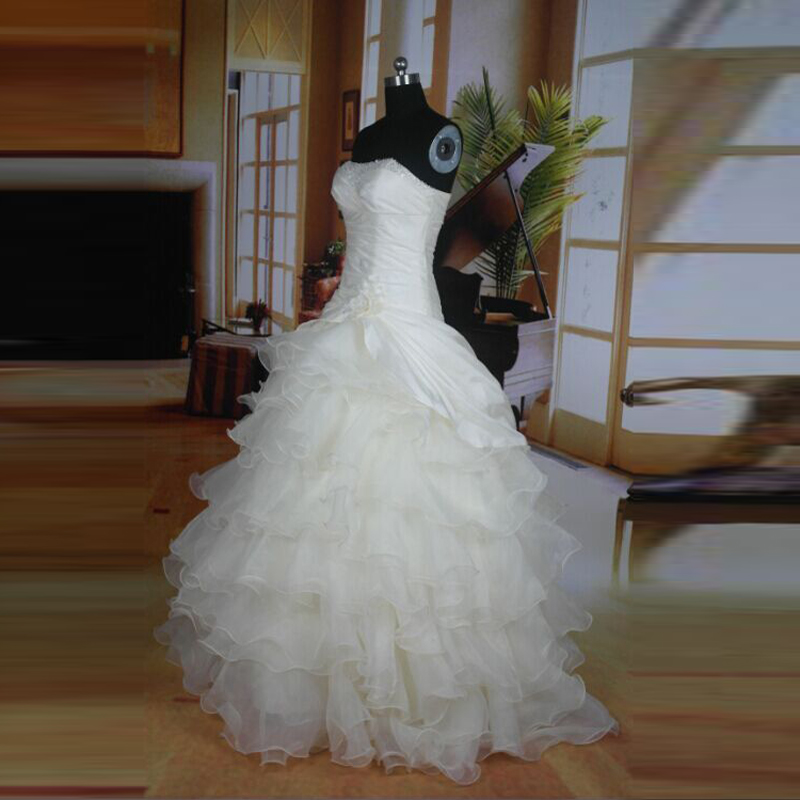 Tiered Wedding Gown: Real Picture Sweetheart Wedding Dresses Off The Shoulder