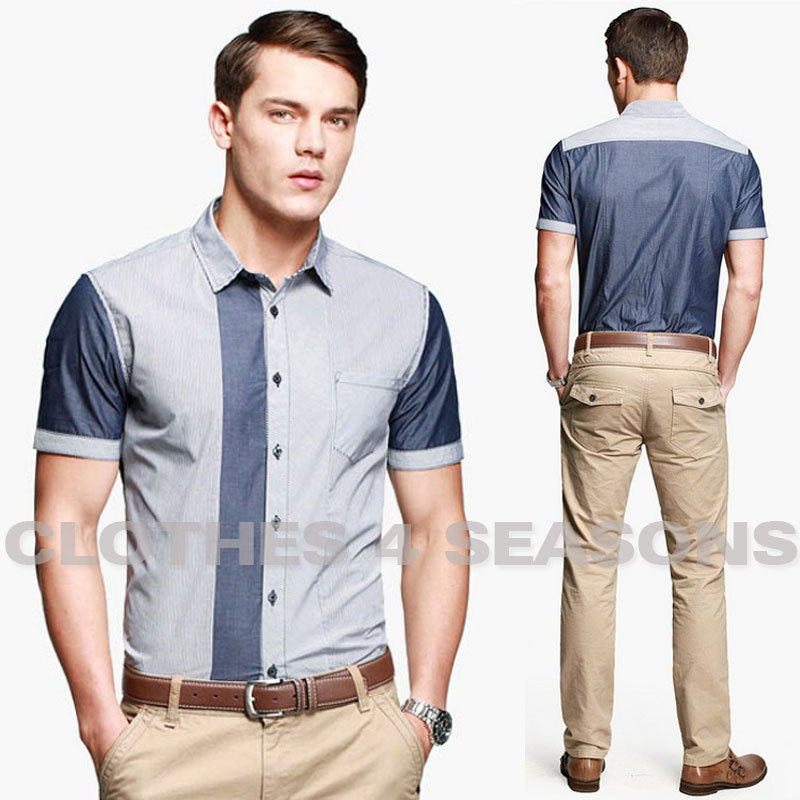 2014 Classic Men 39 S Shirts Casual Stripe Short Sleeved Men