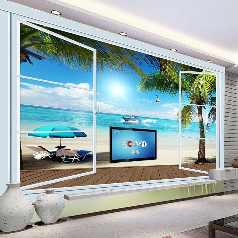 popular wall mural ocean buy cheap wall mural ocean lots from custom 3d photo wallpaper ocean view 3d stereo window tv background wall mural wall painting living