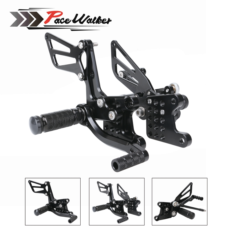 CNC Adjustable Rearset Footrest Foot Pegs Rear Footpegs Kit for Suzuki GSX R600 GSXR600 K1 K2 K3 K4 K5 2000 2005 SV650 SV650S