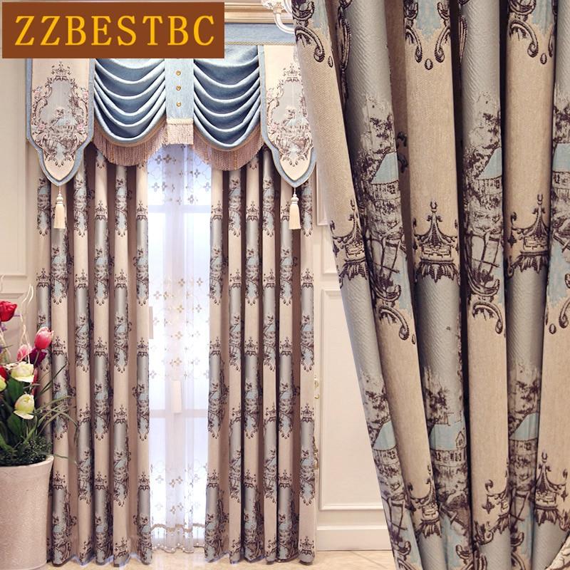 Eiropas luksusa gatavās pasūtījuma žakarda ēnas aizkari - Mājas tekstils