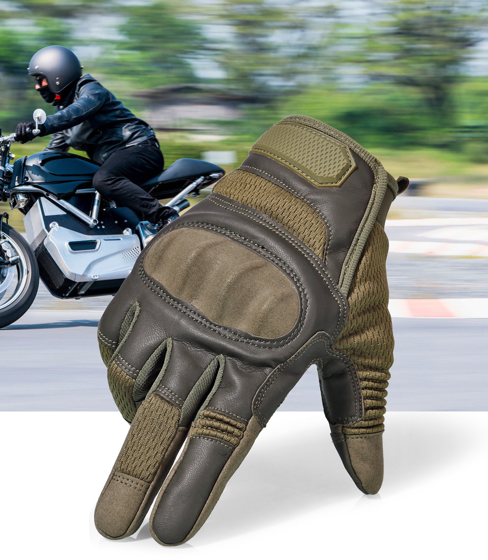 HTB1OoWnKkyWBuNjy0Fpq6yssXXaF Touchscreen Leather Motorcycle Skidproof Hard Knuckle Full Finger Gloves Protective Gear for Outdoor Sports Racing Motocross ATV