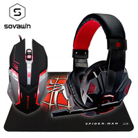 Sovawin Gaming Mouse LED Professional 6 Button Stereo Gaming Headphones Cool Spiderman Mousepad Anti Skid For