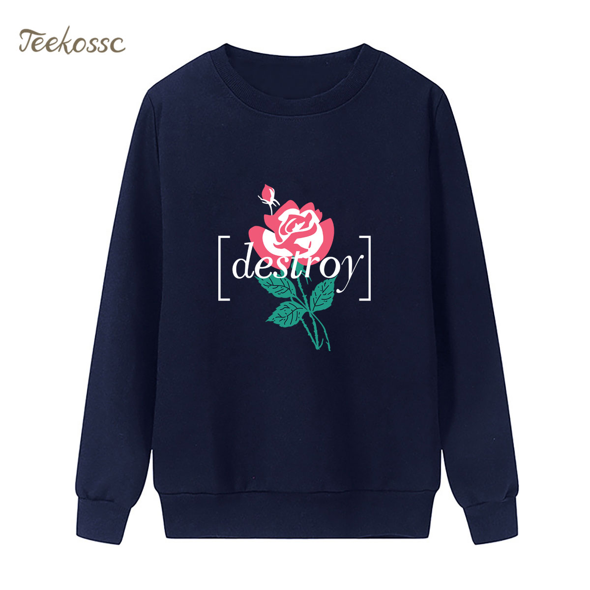 Destroy Flower Sweatshirt Printing Hoodie 2018 Brand Winter Autumn Women Lasdies Pullover Fleece Warm Loose Casual Streetwear