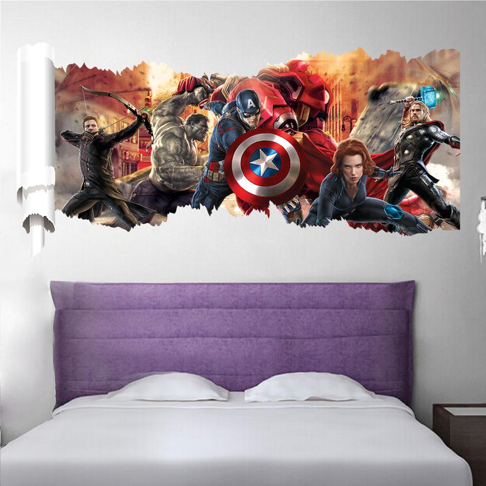 Marvel The Avengers Super Heroes Decorative Wall Stickers For Kids Nursery Living Room Decor Mural Art Poster Home Decoration in Wall Stickers from Home Garden