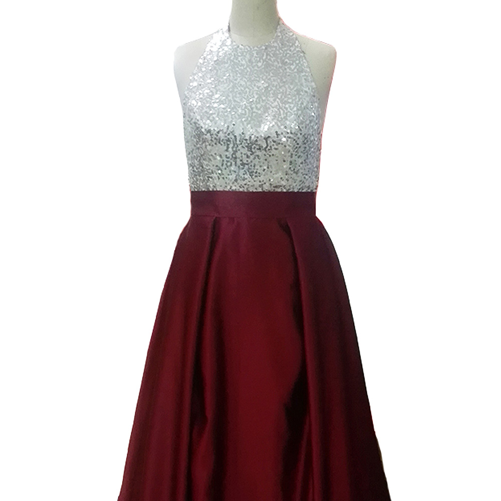 5fae6d4f9b55 JIERUIZE Silver Sequin Burgundy Evening Dresses Long Halter Backless long  Prom Dresses Formal Dresses -in Evening Dresses from Weddings   Events on  ...