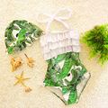 kids swimsuits girls one piece swimwear 2017 Mississippi style painting ruffle toddler girls bathing suits Banana leaf printing