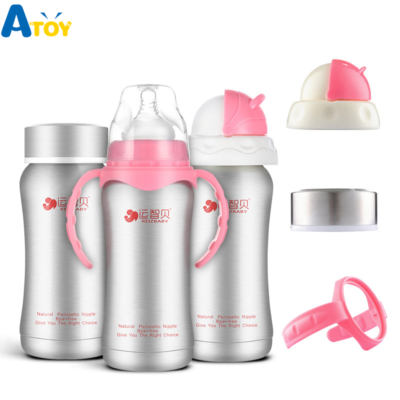 240ml Baby Bottles Thermos Stainless Steel Nursing Feeding milk Bottle Water Bottle Newborn Bottles 3 In1 Baby Heat Retaining