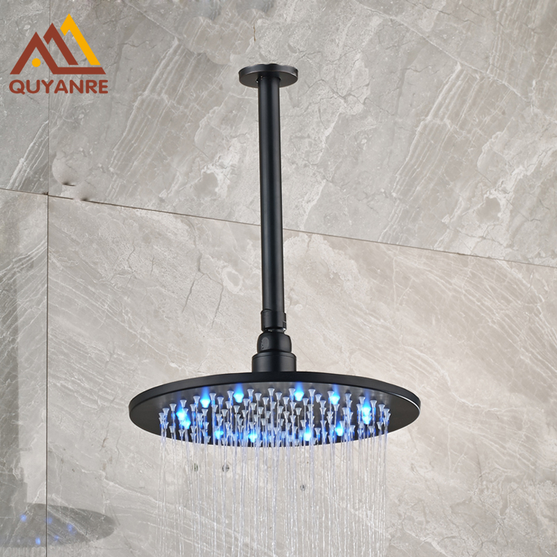 Led Shower Head with Ceiling Mounted Shower Arm Rainfall Round Shower Head Black Color Free Shipping цены