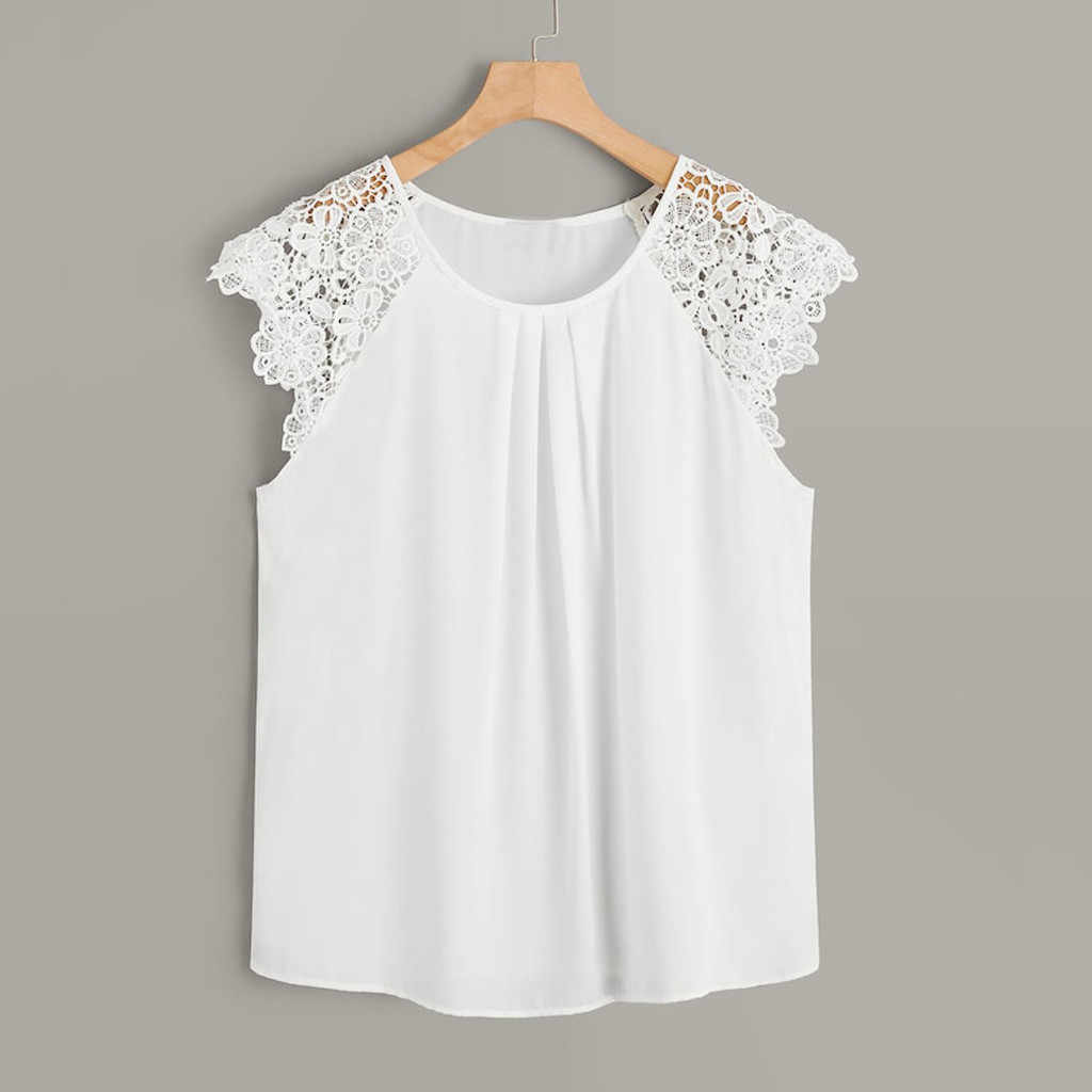 Chiffon Shirt women Fashion Plus Size Tunic White O-Neck Floral Lace Shoulder Womens tops and blouses blusas mujer de moda 2019