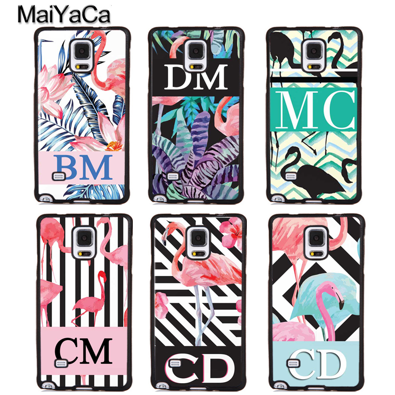 MaiYaCa PERSONALISED INITIALS FLAMINGOS Phone Cases For Samsung Galaxy S5 S6 S7 edge Plus S8 S9 plus Note 3 4 5 8 Cover Shell