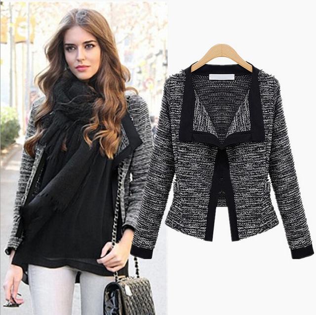 Marca de design de Outono e inverno moda feminina manga longa malha de lã Mulheres casaco de linho Projeto Curto mulheres jaqueta Blazers A549
