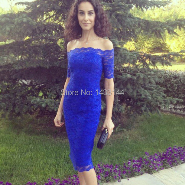Tumblr Off The Shoulder Mother Of Bride Lace Dress Wedding Guest Royal Blue