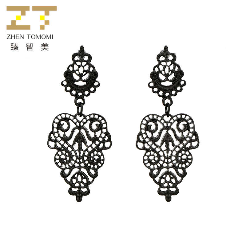 Hot Sale Panjang Laporan Bohemian Anting-Anting Hollow Daun Menjuntai Drop Anting-Anting untuk Wanita Anting-Anting Fashion Perhiasan Brincos Oorbellen