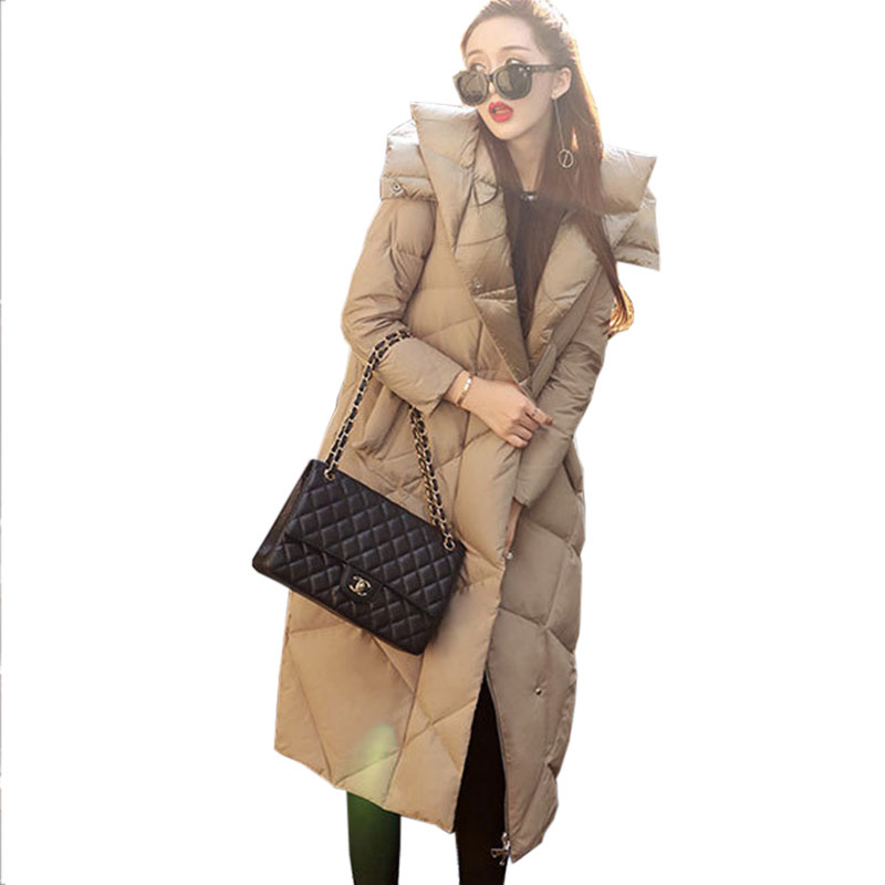 2017 Winter New Down jacket Women Long Coat Fashion Warm Hooded Loose Outerwear Female top White Duck down Windproof Parkas X237