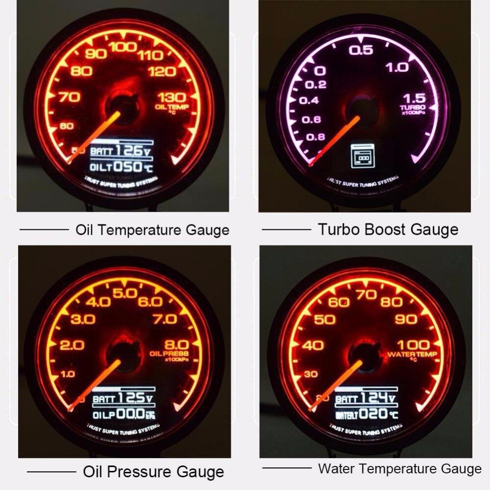 12 V voiture pression d'huile Turbo Boost jauge huile Temp eau température jauge mètre pour la course de voiture 4 modèles accessoires de voiture en option