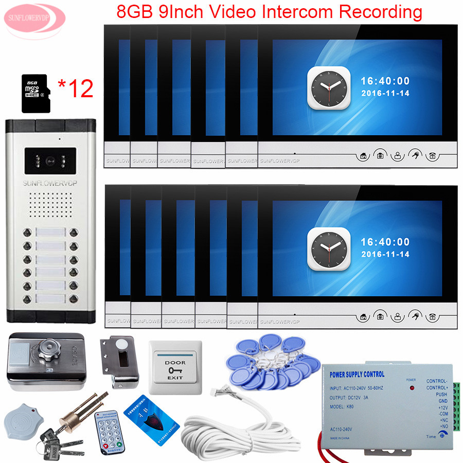 Videophone 12 Villas 9 '' Video Door Phone Set With  Recording + 8 GB TF Card Wired Video Door Entry Rfid Unlock Electronic Lock