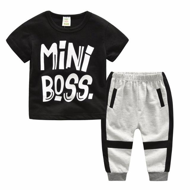 de53d4494 Baby Boy Clothing Short Sleeve Little Boss Print Black T-shirt Top+Long  Pants Two Piece Children Clothing Set Boys Outfits Sets