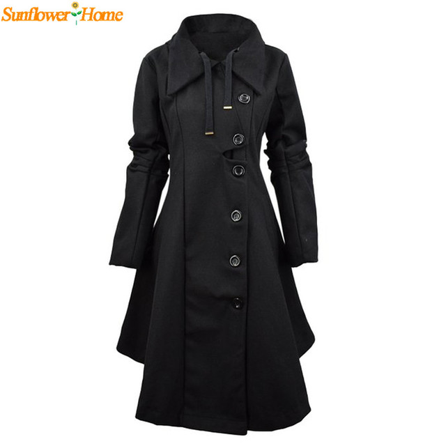Newly Design Women's Leisure Winter Windbreaker Single Breasted Long Hooded Cloack Trench  161031 Drop Shipping