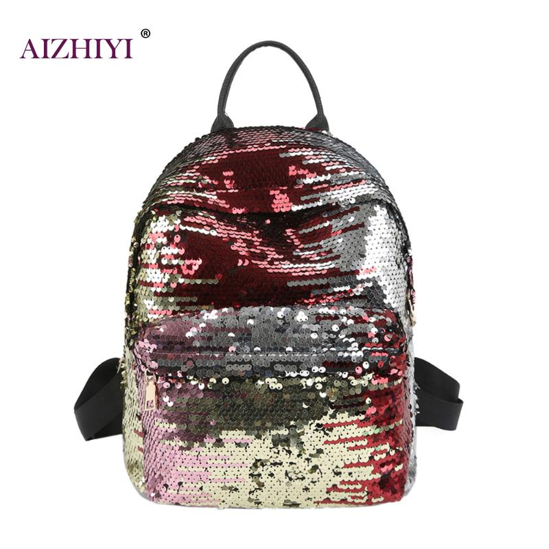 где купить Sequins Women PU Backpacks female mochila Shine Backpack Glitter Large Girls Travel Shoulder Bags Fashion Brand Black School Bag по лучшей цене