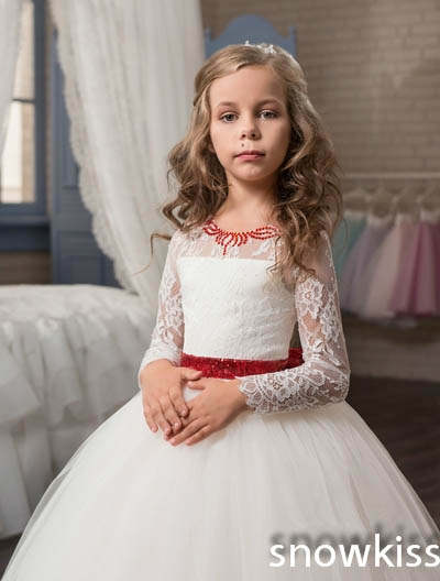 3c515c4f204 Cute new long sleeves white ball gown flower girl dresses french lace  beaded first communion dress with sequin bow and sash