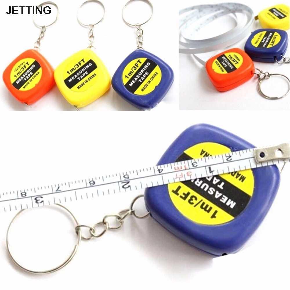 Jetting Kualitas Tinggi 1 Pc 1 Meter Warna Acak Gantungan Kunci Gantungan Kunci Alat Populer Mini Pita Pengukur Portabel Gantungan Kunci Pria Hadiah