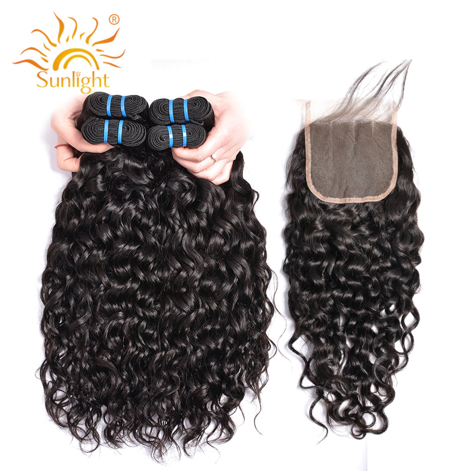 Human Hair Water Wave Bundles With Closure Sunlight Indian Hair Extension Non Remy Hair Weave 3