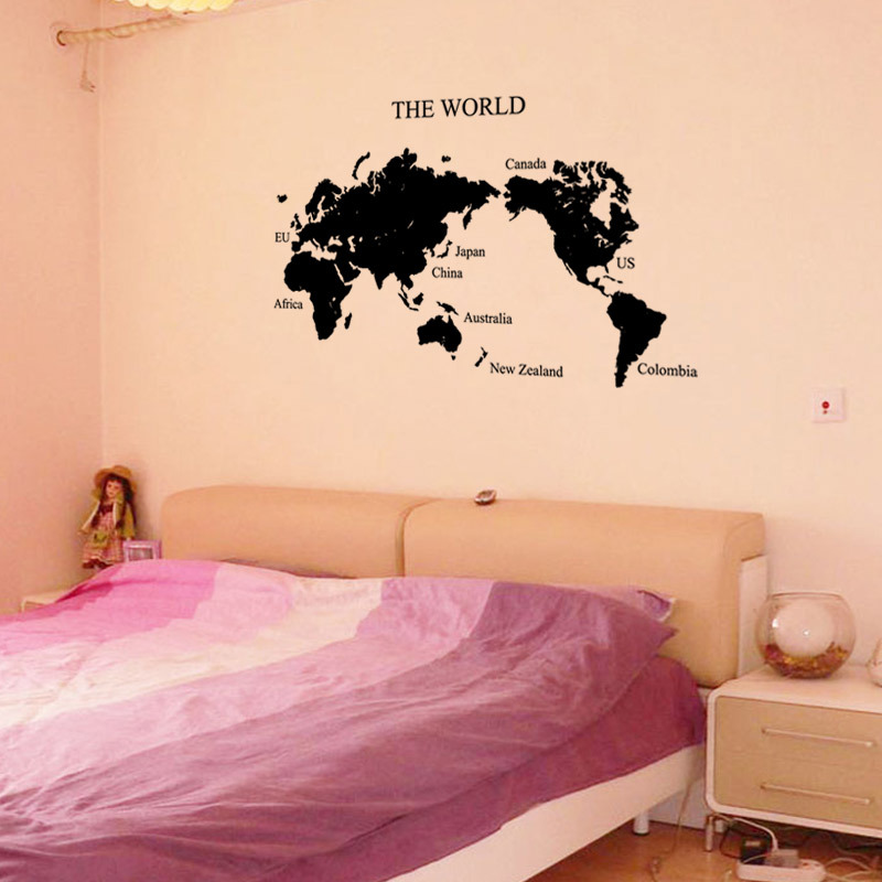 Global World Map Self Adhesive Removable Wall Stickers Wall Decals In Wall  Stickers From Home U0026 Garden On Aliexpress.com | Alibaba Group Part 53