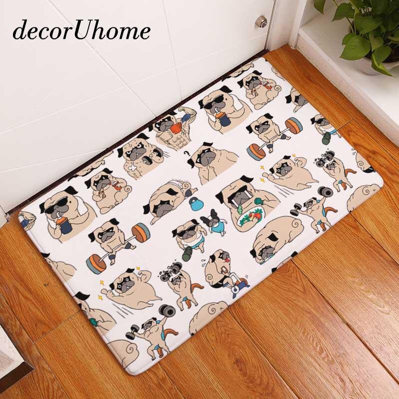 DecorUhome de franela impermeable Bienvenido Mat de dibujos animados lindo Bulldog alfombra dormitorio alfombras decorativa escalera alfombras casa decoración artesanía