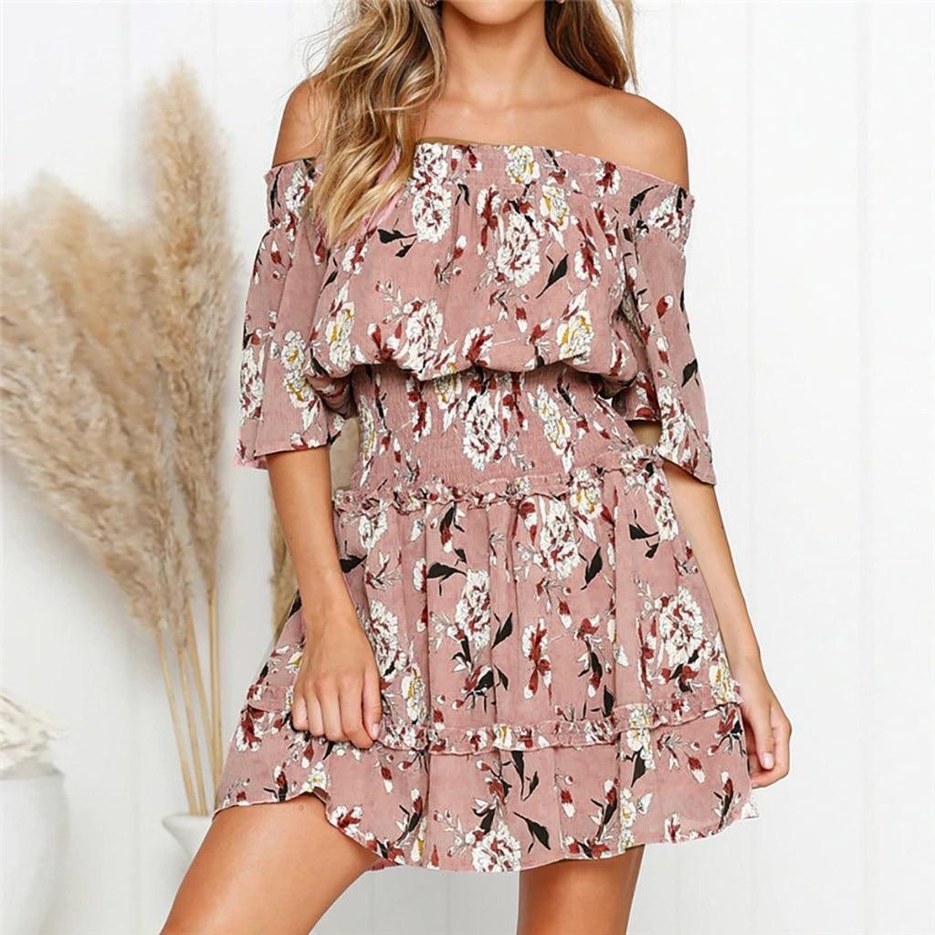 Sexy Women Off Shoulder Summer Dress Ruffles Floral Print