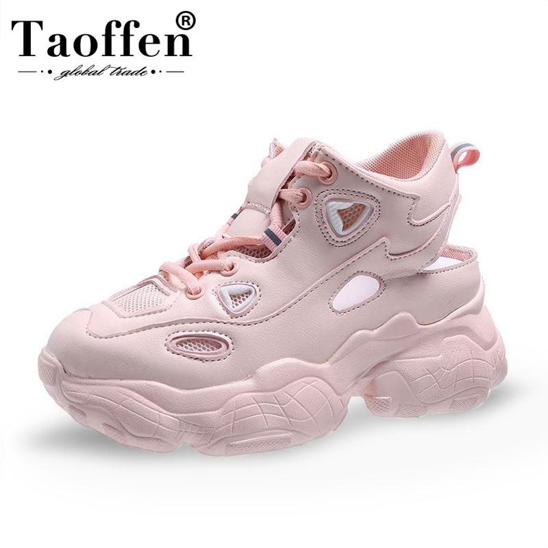 Taoffen Thick Sole Sneakers Women Lace Up Mesh Casual Shoes Platform Comfortable Walking Vulcanized Shoes Women Size 35-39Taoffen Thick Sole Sneakers Women Lace Up Mesh Casual Shoes Platform Comfortable Walking Vulcanized Shoes Women Size 35-39