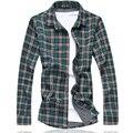 Клетчатую Рубашку Мужчины 2016 Новая Осень С Длинным Рукавом Рубашки Мужчины Мужчины одежда Плюс Размер Повседневная Мужчины Пляж Рубашка Блузка 7XL-M Бесплатная Доставка
