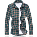 Camisa xadrez Homens 2016 Novo Outono Homens Camisa de Manga Longa Homens roupas Plus Size Homens Casuais Praia Camisa Blusa 7XL-M Frete Grátis