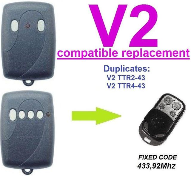 2016 V2 TRR2 43 or TRR4 43 Replacement Universal remote control