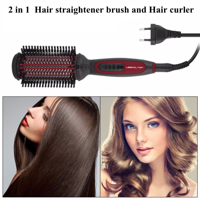 все цены на Fast Electric straightener Brush Escova Alisadora Ceramic Hair Straightening Comb Flat Iron Digital Control Straight Brush