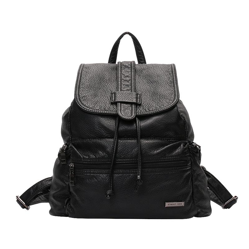 2017 PU Leather Black Backpack Korean Vintage Style Shoulder Bags Leisure Pretty Schoolbags F1