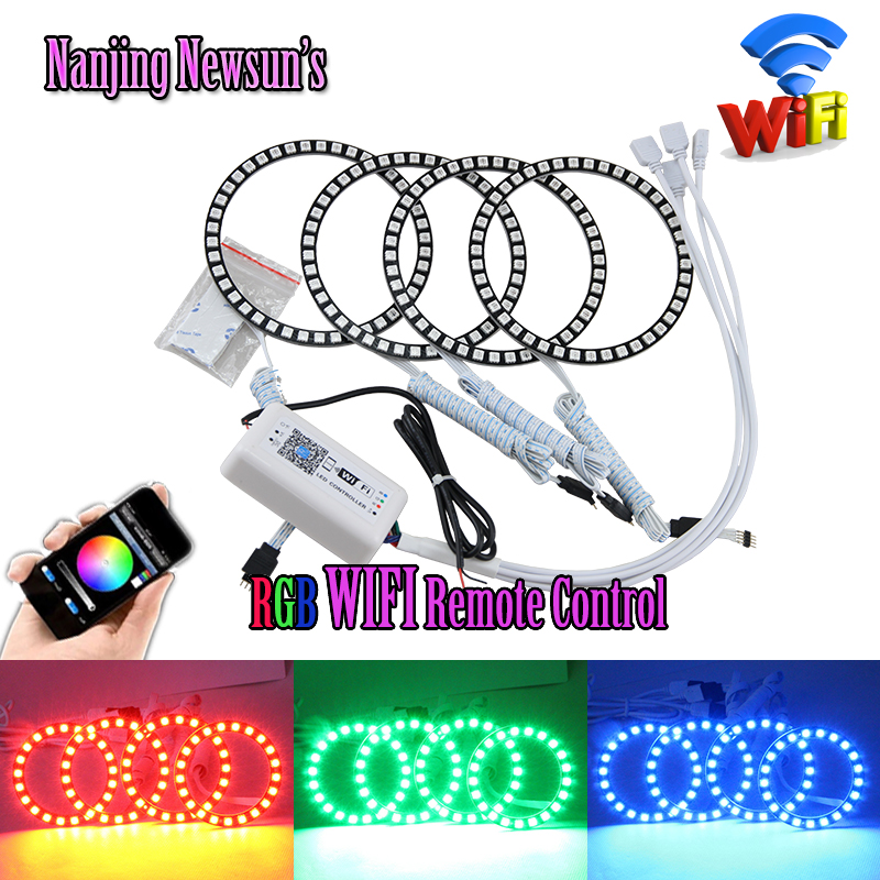 4PC Full Circle Halo Ring +1PC Wifi Controller = One Set Wifi RGB Multi-color Led Headlight Angel Eyes Kit 72 75 80 90 100 120mm other voices full circle cd