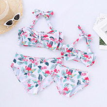Flamingo Mother Daughter Swimsuits Family Look Mommy and Me Swimwear Mom Girls Matching Clothes High Waist Bikini Bathing Suits family swimsuits mommy and me clothes mother daughter swimwear floral bathing suits mom girls matching outfits bikini dress look