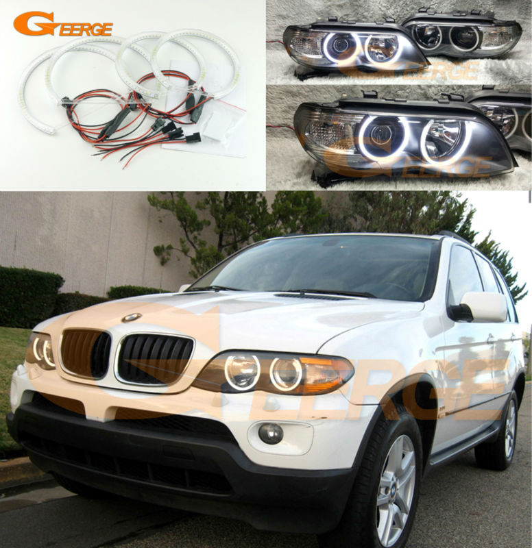 For BMW X5 E53 2004 2005 2006 Excellent angel eyes Ultra bright illumination smd led Angel Eyes Halo Ring kit super bright led angel eyes for bmw x5 2000 to 2006 color shift headlight halo angel demon eyes rings kit