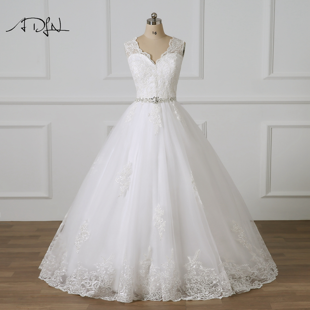 ADLN V-neck Ball Gown Lace Wedding Dresses Sweep Train Delicate Beaded Vestidos De Novia Plus Size Bridal Gowns