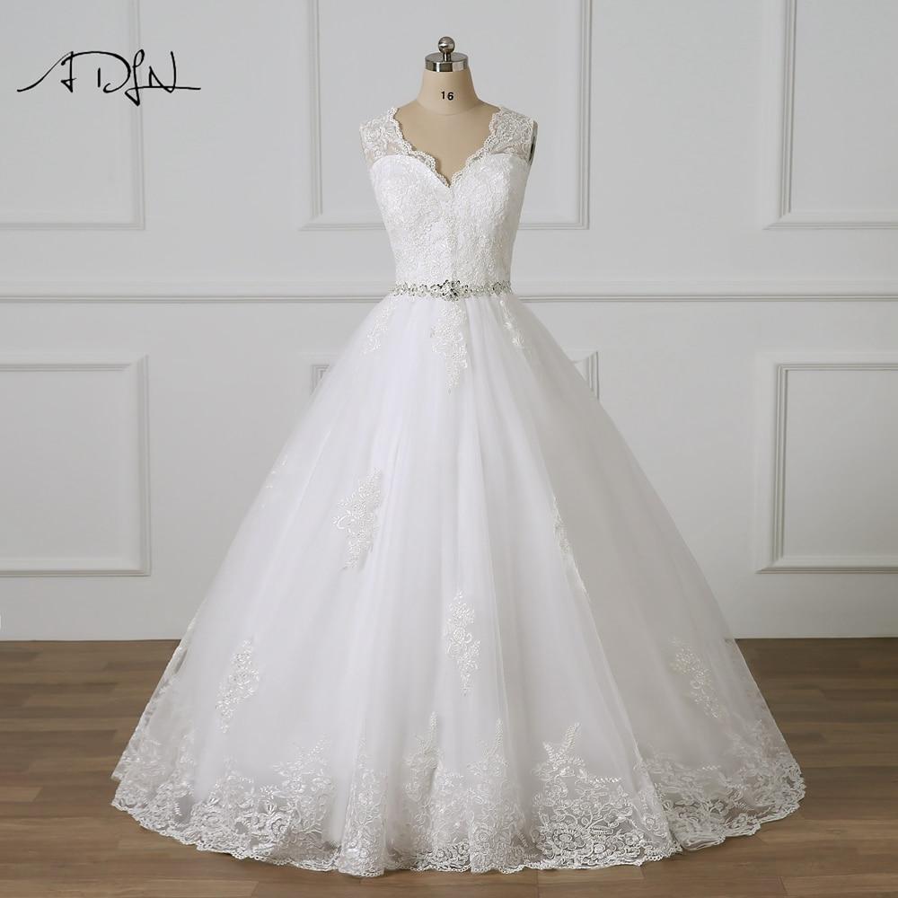 ADLN V-neck Ball Gown Lace Wedding Dresses Sweep Train Delicate Beaded Vestidos De Novia Plus Size Bridal Gowns