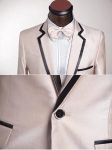 Image 3 - Mais recente Projeto Custom Made One Button champanhe notch Lapela Do Noivo Smoking Padrinhos homens Ternos de Casamento Para Os Homens (Jacket + calça + Gravata)