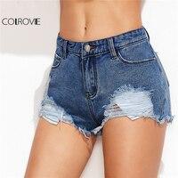 COLROVIE 2018 Low Rise Distressed Plain Mini Denim Shorts Blue Low Waist Ripped Rock Shorts Women